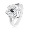 Gyűrű ezüst árnyalatban, csillogó cirkóniás virág aszimmetrikus szegéllyel