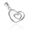 Függő ezüstből - szívecske sziluett nagyobb szívben