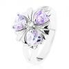 Ezüst színű gyűrű, virág lila szív alakú cirkóniákkal
