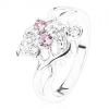 Csillogó gyűrű, ezüst szín, masni rózsaszín és átlátszó cirkóniákból