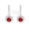 Fülbevaló 925 ezüstből, kerek, piros kő, átlátszó kerettel, napocska