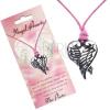 Rózsaszín nyakék - szív alakú medál keresztezett szárnyakból