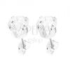 925 ezüst fülbevaló, kerek átlátszó cirkónia, ferde bevágások 6 mm