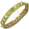 Karkötő bőrből - zöld szalag félgömbökkel, kúpokkal és cirkonkövekkel
