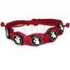 Piros fonott karkötő, kör alakú FIMO gyöngyök nyuszival