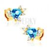 Fülbevaló 9K sárga aranyból - kék háromszöges topáz, átlátszó cirkóniák
