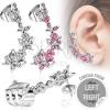 Hamis acél piercing a fülbe - pillangók és virágok cirkóniákkal, bal