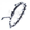 Fekete karkötő zsinórokból, fehér gyöngyök