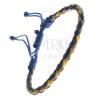 Bőrkarkötő - gömbölyű fonat madzagokkal, sárgás-kék