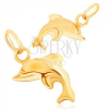 Medál 9K sárga aranyból - csillogó háromdimenziós ugró delfin