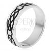 Gyűrű 316L acélból, vastagabb fekete csepp és rombusz kontúr