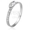 Cirkóniás gyűrű, köves szárak, elipszis alakú kő, 925 ezüst