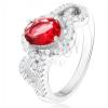 Gyűrű ovális, piros cirkóniával, félszív körvonalak, 925 ezüst