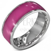 Acél karika gyűrű - fényes rózsaszín ezüstös szélekkel, 8 mm