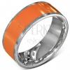 Sima acél karika gyűrű narancs színben ezüstös szegélyezéssel
