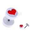 Fehér, kerek fake plug akrilból - piros, szabályos szív