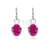Kicsi ezüst fülbevaló - ovális függő, sötét rózsaszín cirkóniák