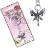 Fém kulcstartó - álló, patinás pillangó tündér