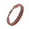 Karamellbarna-bézs színű karkötő bőrből - sűrű fonat