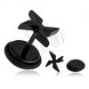 Fekete hamis akril fülpiercing, forgó csillag