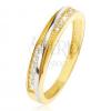 Gyűrű 14K sárga aranyból - díszített háromszöges bevágások, cirkóniák