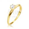Arany gyűrű - fényes sima lemetszett szárak, átlátszó kő