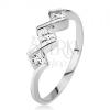 Gyűrű 925 ezüstből - három átlátszó négyzetes kő, fényes cik-cakk vonal