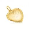 Medál 14K sárga aranyból - matt szimmetrikus szív, vésett szélek