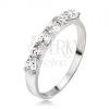 Gyűrű, sáv foglalatokban lévő kerek, átlátszó cirkóniákból, 925 ezüst