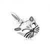 Fényes, patináns medál, kidomborodó macska fej, 925 ezüst