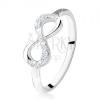 925 ezüst eljegyzési gyűrű, fekvő nyolcas, átlátszó cirkóniák