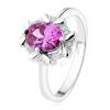 Eljegyzési gyűrű 925 ezüstből, ovális lila kő, cirkóniás keret
