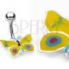 Sárga - kék pillangó köldökpiercing