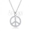 925 ezüst nyakék, béke jel átlátszó cirkóniákkal