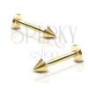 Fényes acél piercing állba - labret tüskével, arany szín