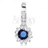 925 ezüst medál, csillogó virág, kék kerek cirkónia, átlátszó kontúr