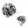Acél gyűrű ezüst színben, koponya szemtakaróval, királyi korona