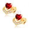 Fülbevaló 9K sárga aranyból - szívecskés piros gránát, csillogó szív körvonal
