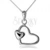 Nyaklánc medállal, 925 ezüst, szív kontúr kicsi szívvel