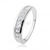 Eljegyzési gyűrű 925 ezüstből cirkóniás vonallal