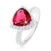 Ezüst 925 gyűrű, háromszög, rózsaszín cirkónia, ragyogó szegély, kivágások
