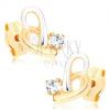 Kétszínű fülbevaló 9K aranyból - aszimmetrikus szív kontúr, cirkónia