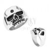 Gyűrű 316L acélból, ezüst szín, fényes koponya, patináns részek
