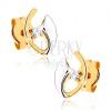 Bedugós fülbevaló 9K sárga aranyból - hajlított vonalak, átlátszó cirkónia, ródiumozott