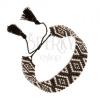 Állítható karkötő gyöngyökből, rombusz mintával, fekete és ezüst szín