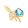 375 arany medál - masni, kék topázzal és átlátszó cirkóniákkal díszítve