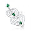 Medál 925 ezüstből, szív körvonalak filigránnal, átlátszó és zöld cirkóniák