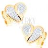 Fülbevaló 9k sárga aranyból - egyenetlen szívecske Swarovski kristályokkal kirakva