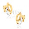 375 arany ródiumozott fülbevaló, három aszimmetrikus ív