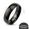 Acél gyűrű fekete színben, fényes és sima felület, 8 mm